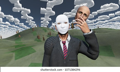 Man removes face to reveal mask underneath in surreal landscape. 3D rendering