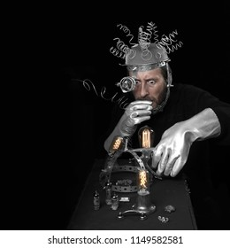 Man represents a mad scientist on black background