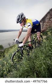 man ride his mountain bike