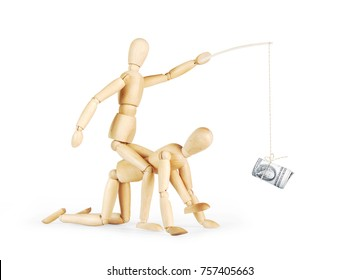 Man rides on another person and rules him with a bundle of dollars. Abstract image with wooden puppets