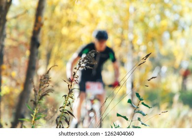 A man riding a bicycle in the park blurred background