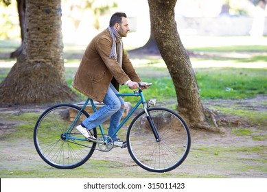 Man riding in bike for the park