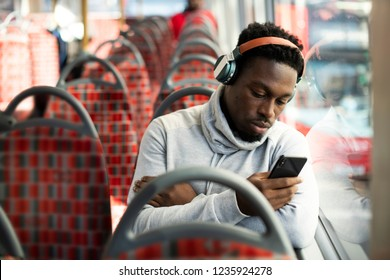 Man riding the bus alone