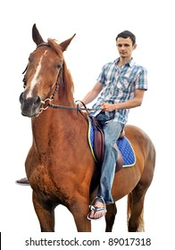 Man riding a horse isolated
