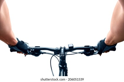 Man riding on a bicycle isolated