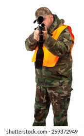 A man with a rifle isolated on a white background.