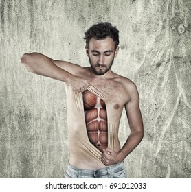 Man ripping off his skin to show off muscle anatomy.