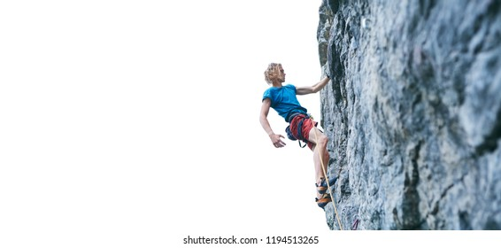 man rock climber with long hair. side view of young man rock climber in bright red shorts resting while climbing the challenging route on the cliff on the white background.