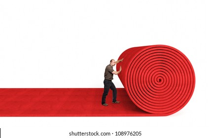 man roll red 3d carpet on white background