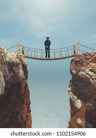 Man rope passing over a bridge suspended between mountains. This is a 3d render illustration.