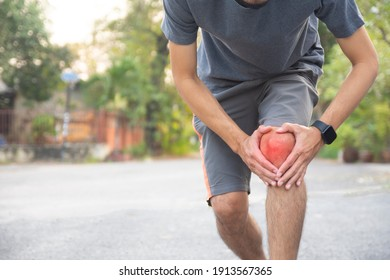 Man Runner Jogging for Exercise on Morning but Accident Knee pain while running, Sport And Healthy