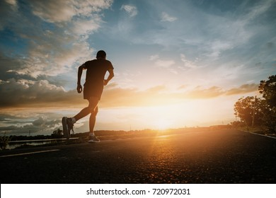 The man with runner on the street be running for exercise.Run for health concept.
