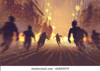 man running away from zombies,burning city in background,illustration,digital painting