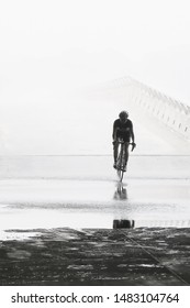 A man running during rainy day with perseverance and courage