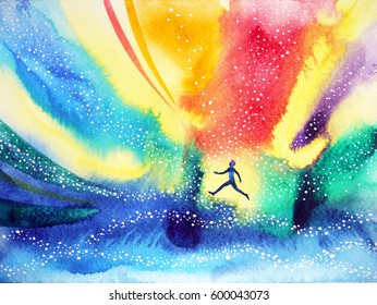 man running, flying in the colorful universe, watercolor painting hand drawn