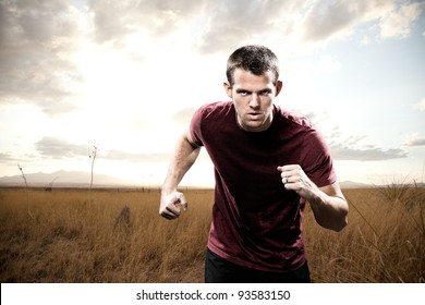 Man Running with Focus