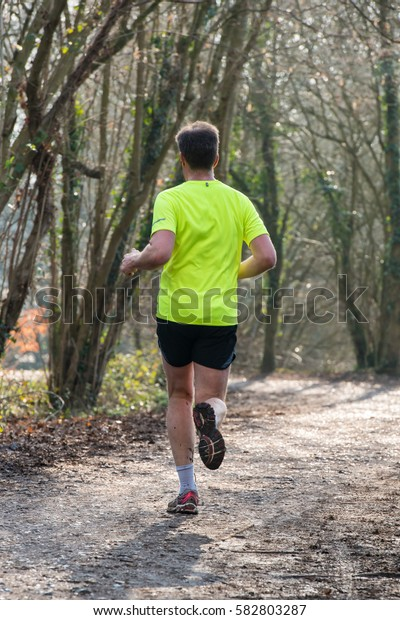 Man running in the forest,spring morning.