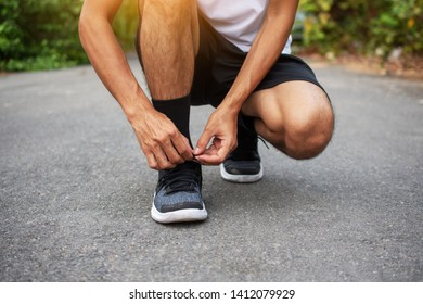 Man running jogging on road,Sport healthy