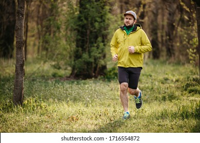 Man running in the morning on a park / forest path. Healthy active man jogging.