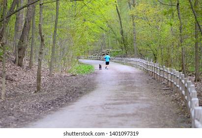 Man running on the ravine