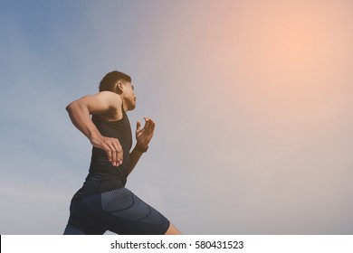 man running and Physical fitness test ; Healthy lifestyle cardio together at outdoors summer