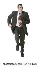 Man running in three piece suit