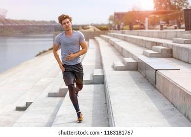 Man running in urban area