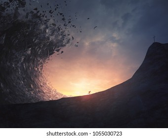 A man runs away fast from a large rock tsunami and towards a cross.