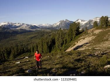 A man runs in Garibaldi Park, near Whistler, British Columbia, Canada.