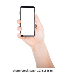 Man s hand holding mobile smart phone with blank screen, isolated on a white background.