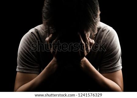 Man Sad Cry Alone Dark Background Stock Photo Edit Now 60 Cool Alone Cry