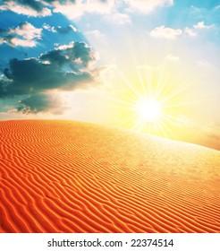 Man in  sand desert