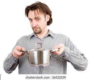 man with a saucepan