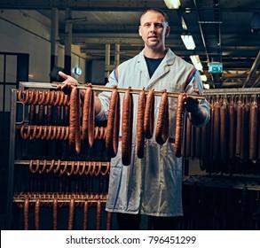 A man in sausage storage.