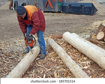 Man sawing wooden log by motor saw