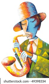 Man with saxophone on a blue background
