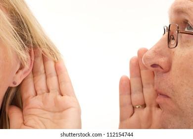 Man saying something to woman