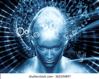 Man of Science series. Abstract design made of human head, numbers and visual elements on the subject of human mind, modern technology, education and science