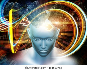 Man of Science series. Arrangement of human head, numbers and visual elements on the subject of human mind, modern technology, education and research