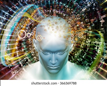 Man of Science series. Design composed of human head, numbers and visual elements as a metaphor on the subject of human mind, modern technology, education and science