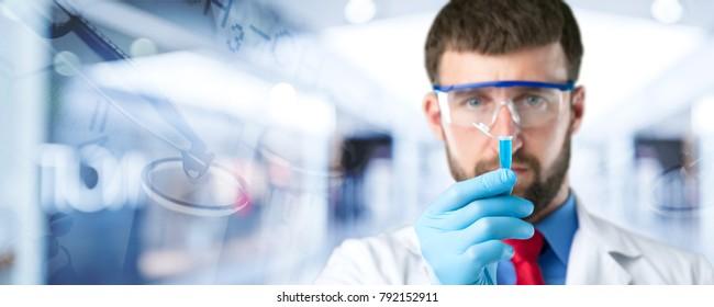 Man scientific research concept