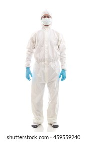 Man scientists wear protective clothing. on a white background