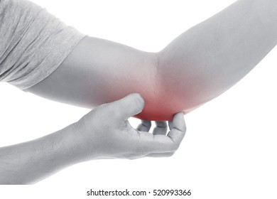 Man scratch the itch with hand ,Elbow, Itching, Concept with Healthcare And Medicine.