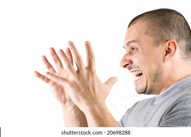 man screaming isolated on white