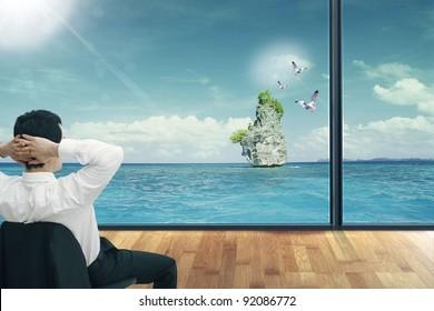 Man in sea looking