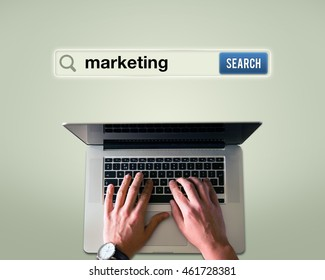 A man searching for 'Marketing'.