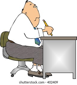 Man seated at a desk