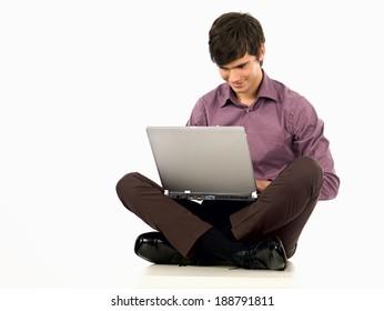 Man seating with laptop