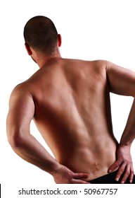 man with serious back pain and surgery scar