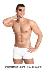 Man with sexy body on white background